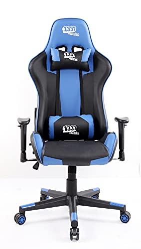 1337 Industries GC766BL Silla Gaming, Acero aleado, Negro Azul, Grande