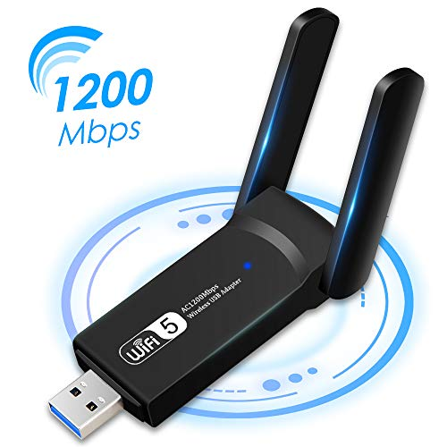 Aigital WiFi Adapter 1200Mbps, MU-MIMO USB 3.0 WiFi Dongle Ultra Fast Portable Dualband Network Adapter with 2 * 3dBi Antennas for PC Desktop Laptop, Support Windows XP/7/8/10, Mac OS 10.9-10.15