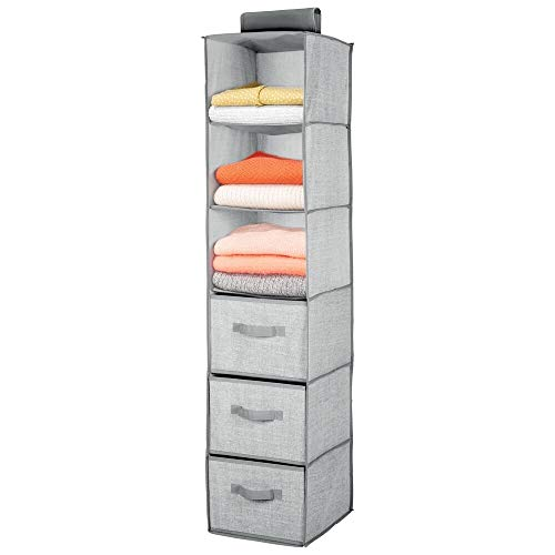 mDesign Long Soft Fabric Over Closet Rod Hanging Storage Organizer with 3 Shelves and 3 Drawers for Clothes Leggings Lingerie T Shirts - Textured Print - Gray