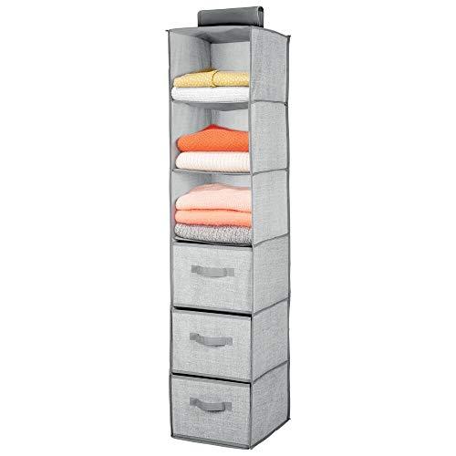 mDesign Organizador de armario colgante de fibra sintética – Práctico colgador de armario con 3 estantes de tela y 3 cajones para dormitorio – Ideal para organizar armarios – gris