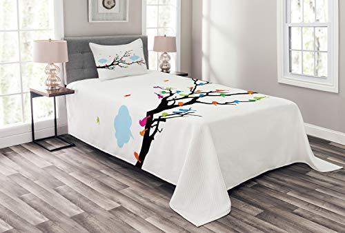 ABAKUHAUS Bunt Tagesdecke Set, Winged Vögel auf Baum, Set mit Kissenbezug Klare Farben, für Einselbetten 170 x 220 cm, Mehrfarbig