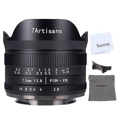 7artisans 7.5 mm F2.8 APS-C manuale obiettivo fisheye per fotocamere Fujifilm con protezione copriobiettivo