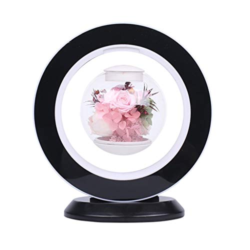 LZL Forever flower Floating Ball Preserved Flower Gift Box Preserved Real Rose Wife Girlfriend Valentine's Day Birthday Can Rotation Beauty and the beast rose (Color : Black)