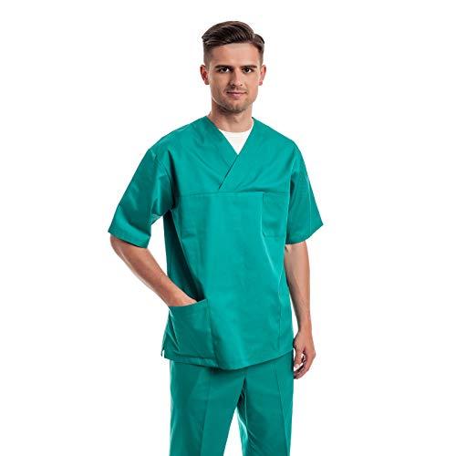 Verde Uniformes Sanitario Pijama Hombre - 7 Tamaños A Medida Xs-3xl - Úsalo como Medico, Enfermera, Peluqueria, Veterinario, SPA, Fisioterapeuta Uniforme O De Trabajo Limpieza, Casaca Estetica Ropa