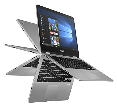 "ASUS Vivobook Flip 14 Thin and Light 2-in-1 Laptop, 14"" HD Touchscreen, Intel Quad-Core..."
