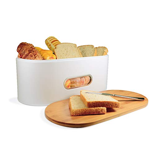 MOLFUJ Bread Box for Kitchen Countertop,With Eco Bamboo Cutting Board Lid,Metal Extra Large Homemade Bread Storage Container,Farmhouse Retro Bread Boxes (White)