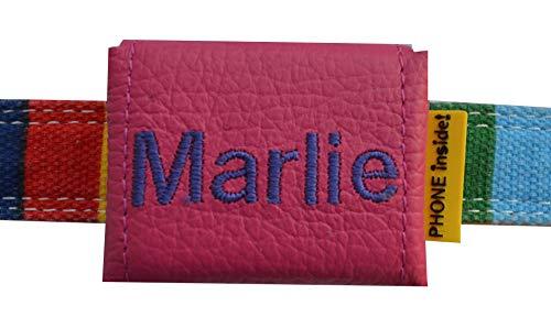 josil.li Trackertasche Bestickt, Nappaleder in 5 Farben, Stickgarnfarbe wählbar, mit Klett- und Steckverschluss, für GPS-Tracker 51x41x15mm (pink)