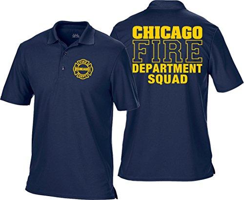 feuer1 Polo Bleu Marine, Chicago Fire Dept. Squad Multifonctions, Police Jaunes et emblème 3XL Bleu Marine