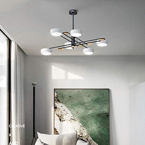 Lámpara de araña - Luces colgantes ajustables de madera de hierro nórdico Lámpara de acrílico creativa simple moderna para sala de estar comedor dormitorio 6 * SMD 120 * 52 CM Buen mater