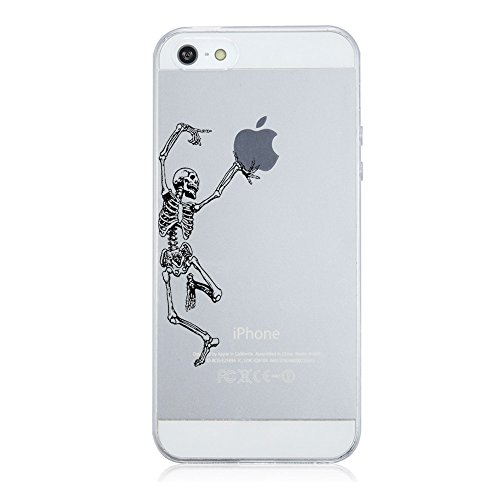 Caler Hülle Kompatibel / Ersatz für iPhone SE/5S/5 Hülle Weiche flexible Silikon Handy Transparente Ultra Slim TPU dünne stoßfeste mit Motiv Tasche Etui Schutzhülle Case Cover (skeleton)