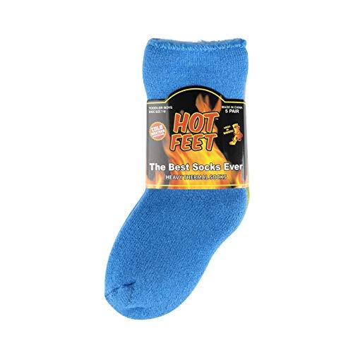 Hot Feet - Calcetines térmicos para niños y niñas, 5 unidades, con cepillado suave y grueso en el interior, Boy's Solid 3/Marled 2 (no agarrado y agarre), Talla única