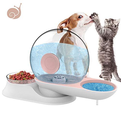 LeYoMiao 2 in 1 - Dispenser automatico per acqua e ciotola per alimenti, per cani e gatti, a gravità, a forma di lumaca, 2,8 l, colore: Rosa