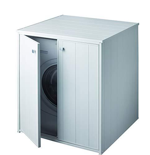 forlani Coprilavatrice da Esterno in PVC 77x71x93,5 cm 2 Ante Laundry XXL Bianco