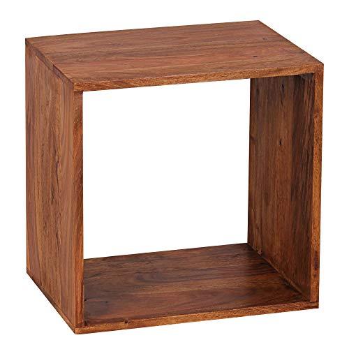 FineBuy Standregal Massivholz Sheesham 43,5 cm Cube Regal Design Holzregal Naturprodukt Beistelltisch Landhaus-Stil dunkel-braun Wohnzimmer-Möbel Unikat Echtholz Couchtisch viereckig Anstelltisch