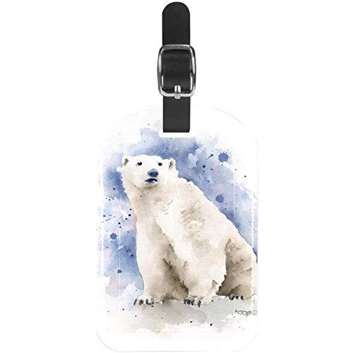 Etiquetas para equipaje con diseño de oso polar, color azul, de cuero, para maleta de viaje, 1...