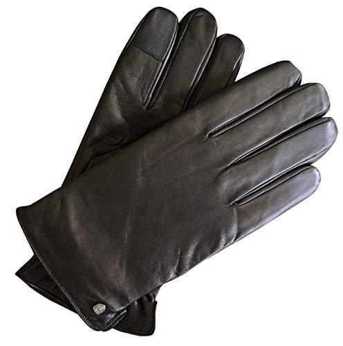 AKAROA ESTD 2019 Lederhandschuhe Herren TIM, italienisches Haarschafleder, Touchfunktion, Strickfutter aus 50% Kaschmir und 50% Wolle, schwarz M