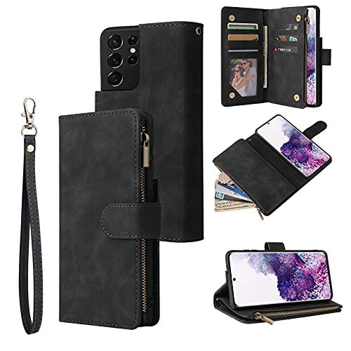 Qoosea Funda Samsung Galaxy S21 Ultra 5G, Cuero Premium Flip Folio Carcasa para Samsung S21 Ultra 5G, Bloqueo RFID, Ranura para Tarjeta, Cierre Magnético, Protección para Galaxy S21 Ultra 5G
