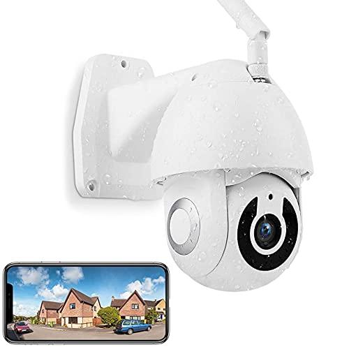 AINSS WiFi IP Cámara de Vigilancia Exterior 1080P CCTV Cámara,Visión Nocturna,Detección de Movimiento,Notificación de Inserción,PTZ 360°/110°,Audio Bidireccional,Impermeable IP66,App:V380【Cámara】