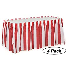 """SUPER VALUE Four 4 beautifully crafted 14'' ft. x 29"""" plastic table skirts Peel and Stick strip for attachment to table Durable sticky double sided tape Neatly packaged PREMIUM QUALITY product so they don't rip we make it easy and comfortable so you ..."""