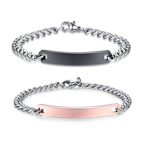 Linni Männer und Frauen benutzerdefinierte Gravur Edelstahl Armbänder personalisierte Geschenk für Paare …