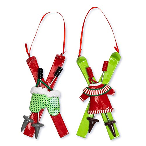 Okuna Outpost Skiing Christmas Tree Ornaments (2.3 x 4.7 in, 2 Pack)