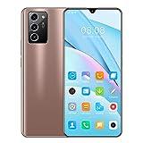 Beautyup NOTE60pro Teléfono Android Teléfono Inteligente con Pantalla de Caída de Agua de 7 Pulgadas con Memoria 12GB + 512GB 5600mah Batería de Capacidad Teléfono Inteligente Barato (Color : Gold)