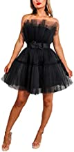 Tianzhihe Ruffle Short Prom Dress Tulle Tutu Mini Homecoming Dress Cocktail Party Gown with Bow Black 12