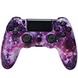 Mando Inalambrico para PS4, Gamepad Wireless Bluetooth Controlador Joystick con Vibración Doble, Mando inalámbrico para Playstation 4/Pro/Slim/PC - Cielo Estrellado Rojo,H4
