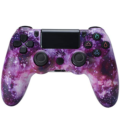 Controller für PS4, Wireless Controller für Playstation 4/PS4 Pro/PS4 Slim mit Touchpanel Gamepad Bluetooth Game Controller Joypad Joystick - Sternenhimmel Lila,F