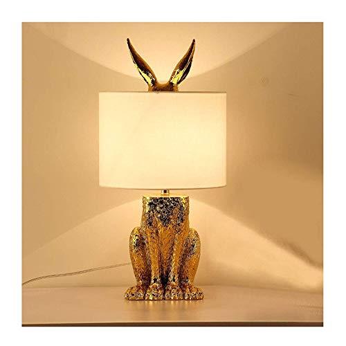 WYGG Tischlampe Tier Modellierung Kaninchen Retro Industrielle Restaurant Buch Lampe Kreative Kaninchen Tischlampe Modernen Minimalistischen Schlafzimmer Nachttischlampe (golden)
