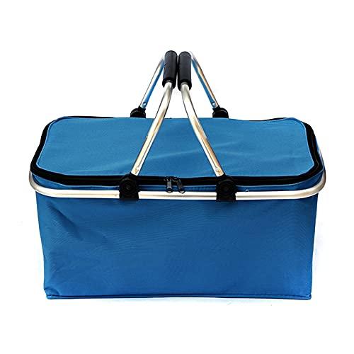 CML 30L Plegable Picnic Camping Canasta Aislado Compras refrigerador hogar Almacenamiento Cesta Cesta Cesta Bolsa Caja de Picnic al Aire Libre Bolsas (Color : Blue)