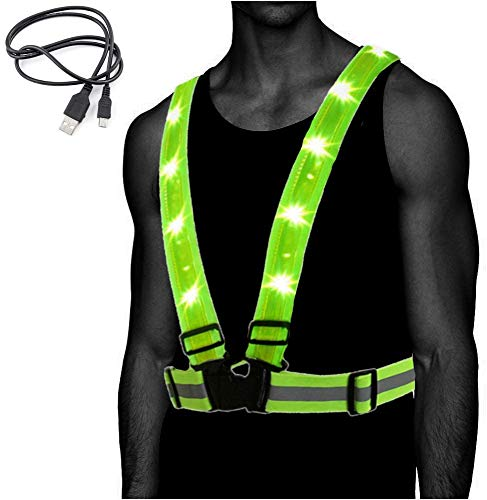 Atlecko 360° Rechargeable LED Running, Cycling, Hiking Reflective Vest & Belt for Men, Women & Kids - Safe & Comfortable - Bright Lights for High Visibility, Excellent Battery Life, Perfect for Night