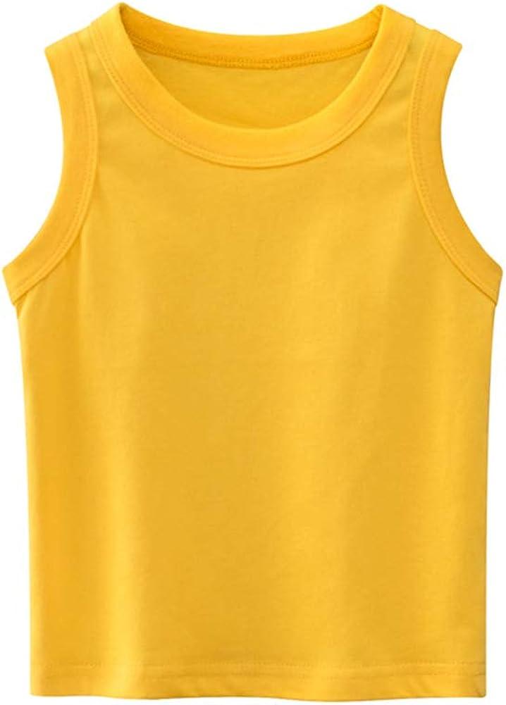 Hwafan Unisex Little Boys Girls Sleeveless Tank Tops Vest Summer Solid T-Shirts Undershirts