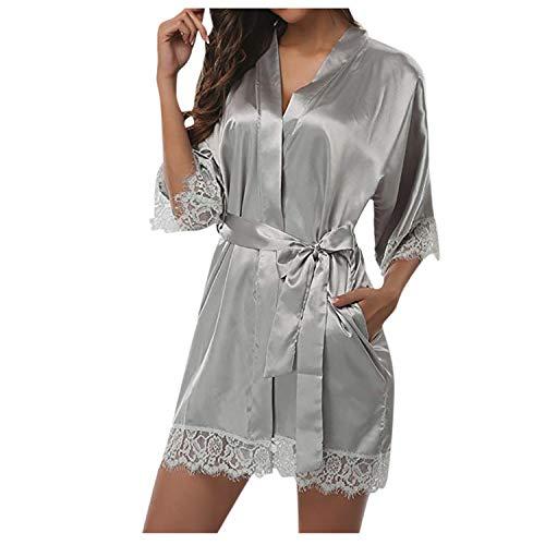 Damen Sexy Spitze Nachtwäsche Satin Pyjama Anzug Sexy Frau Pyjama Gr. XX-Large,...