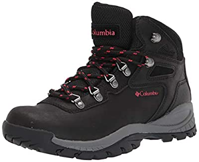 Columbia womens Newton Ridge Plus Waterproof Hiking Boot, Black/Poppy Red, 7 US
