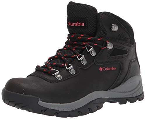 Columbia womens Newton Ridge Plus Waterproof Hiking Boot, Black/Poppy Red, 9 US
