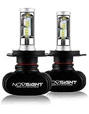 NOVSIGHT H4hi/lo 車用ledヘッドライト 50W(25Wx2) 8000LM(4000LMx2) 6500K ファンレス ホウイト 2個セット