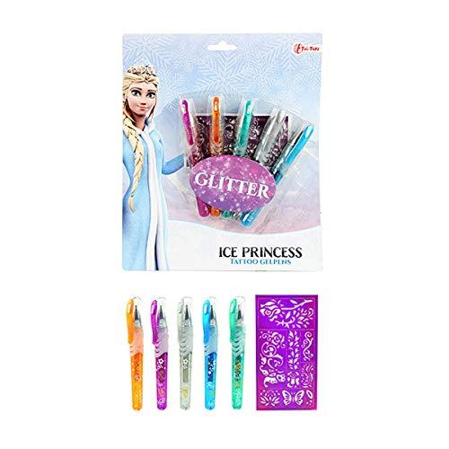 Toi-Toys Ice Princess 45650A Tattoo, 5 Gelstifte mit Glitzer für Kinder, Schablonen, mehrfarbig