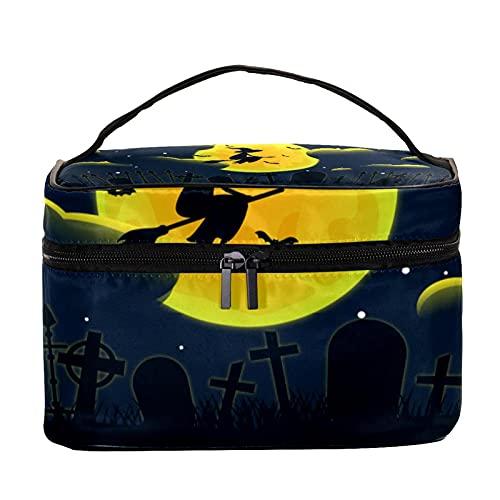 Bolsas de maquillaje para mujeres y nis Estuche organizador de cosmicos de mano bolsa portil de viaje Neceser feliz fiesta de Halloween calabaza noche, Multicolor 3 Neceser