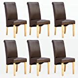 1home Set of 6 Faux Leather Dining Chairs Roll Top High Back with Solid Wooden Legs Oak Finish for Home & Commercial Living Room Bedroom Kitchen Restaurants Brown
