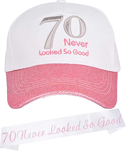 MEANT2TOBE 70th Birthday Gifts for Women, 70th Birthday Decorations for Women, 70th Birthday Sash,70th Birthday Baseball Cap, 70th Birthday, 70th Birthday Party Supplies Gifts and Decorations Pink