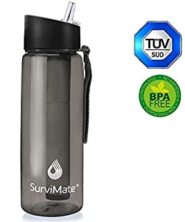 SurviMate Filtered Water Bottle BPA Free with 4-Stage Intergrated Filter Straw for Camping, Hiking, Backpacking and Travel