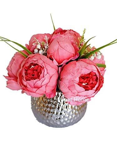 Sweet Home Deco Silk Peony Arrangement in Silver Ceramic Vase Table Flower Home Decor Wedding Centerpiece (Coral)