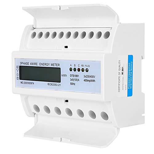 Medidor de energía trifásico, 3 x 5 A 400imp / kWh 50Hz medidor de energía de alambre de 3 x 230V / 400V de cobre puro y plástico hecho para el riel de guía LCD trifásico de cuatro cables 7P debajo