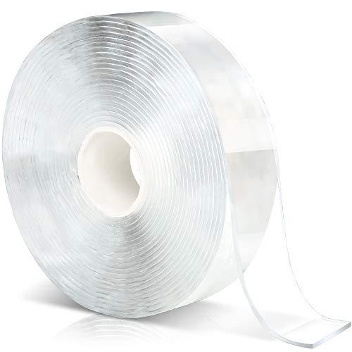 LEOBRO 両面テープ 超強力 貼って剥がせる 5m*3cm*2mm 新開発魔法テープ水洗い 再利用可能 はがせるマットテープ 透明 滑り止め 壁用 多用途 屋内 屋外 車用