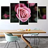 Pintura al óleo modular flor de rosa rosa pintura de una sola rama cartel lienzo estudio decoración del hogar 5 piezas,100×50cm,marco de madera