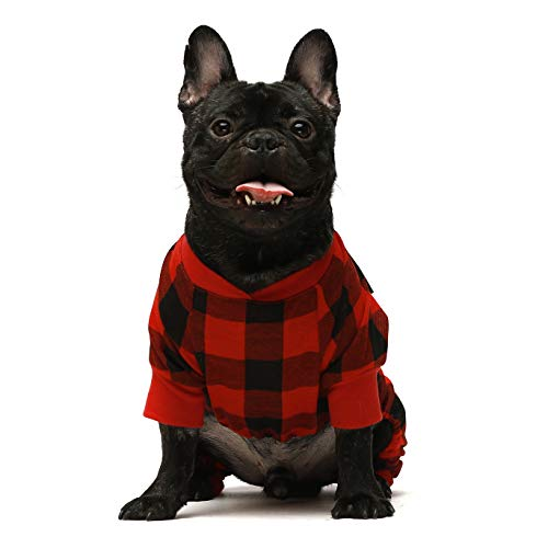 Fitwarm 100% Cotton Buffalo Plaid Dog Clothes Puppy Pajamas Pet Apparel Cat Onesies Jammies Doggie Jumpsuits Red Chihuahua Yorkie XL