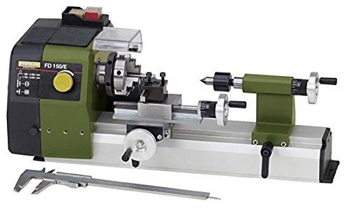 PROXXON Feindrehmaschine FD 150/E, präzise Drehbank mit 2-stufigem Riemenantrieb, Geschwindigkeitsregelung, Spindeldrehzahlen bis 5.000/min, Art.-Nr. 24150