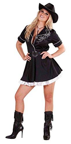 Karneval-Klamotten Cowboy Cowgirl Kostüm Damen Frauen sexy Rodeo Western-Kostüm Kleid schwarz-weiß