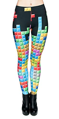 kukubird Printed Patterns Women\'s Yoga Leggings Gym Fitness Running Pilates Tights Skinny Pants Size 6-10 Stretchable-Tetris